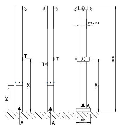 Tuš stup - SPS 01 shema