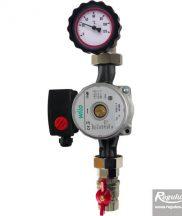 """Pumpna grupa za solarne sisteme sa Wilo ST25/7 180mm, 6/4"""" pumpom koja imaa ugrađen jedan ventil sa termometrom i jednim ventilom bez termometra."""